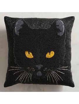 Beaded Black Cat Mini Pillow by Pier1 Imports