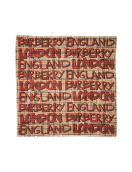 Marker Text Check Print Wool & Silk Scarf by Burberry