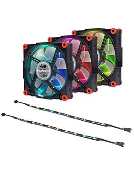 In Win Aurora Fan Kit Black/Red 3 Rgb Led 120mm Fan Two Led Strips High Performance Silent Cooling Computer Case Fan With Anti Vibration Mounting Cooling Black/Red Black by In Win