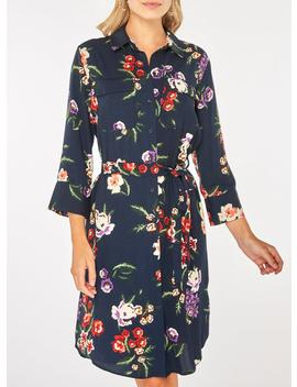 Navy Floral Shirt Dress by Dorothy Perkins