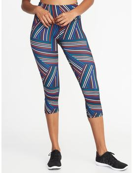 High Rise Striped Compression Crops For Women by Old Navy
