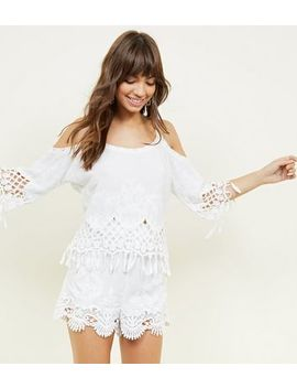 White Crochet Trim Runner Shorts by New Look