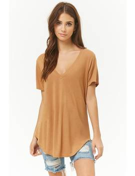 Plunging V Neck Slub Knit Tee by Forever 21
