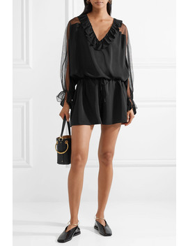 Ruffled Silk Crepe De Chine And Cotton Blend Tulle Playsuit by Stella Mc Cartney