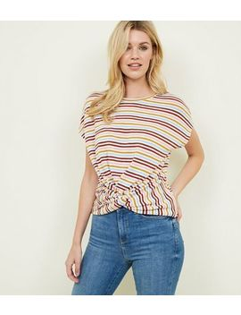 Multi Colour Stripe Twist Front Fine Knit Top by New Look