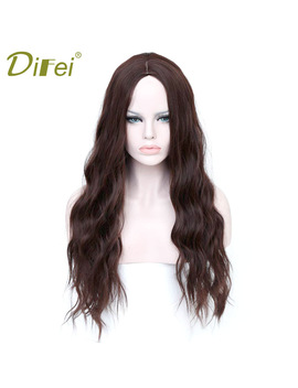 Difei Long Brown Hair Wigs African American Kinky Curly Wigs For Women Heat Resistant Synthetic Fake Hair Pieces by Difei