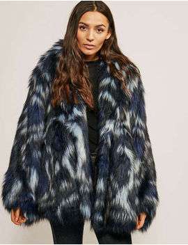 Nwt Juicy Couture Faux Fur Flowers Wild Navy Blue Tie Dye Coat Jacket Xs/S $398 by Ebay Seller