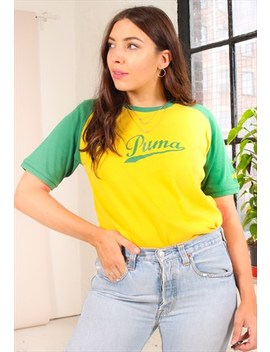 Vintage 90s Yellow Raglan Puma T Shirt by Puma