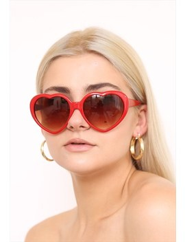 Red Love Heart Festival Sunglasses Uv400 by Vintage Inclined