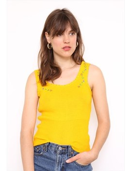 Vintage 70s Yellow Stretch Embroidered T Shirt Top by Vintage Inclined