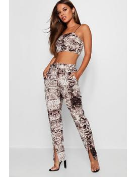 Petite Woven Snake Print Crop Trouser Co Ord by Boohoo