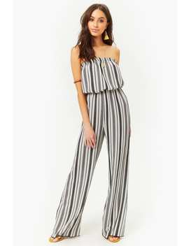 Striped Strapless Crepe Jumpsuit by Forever 21