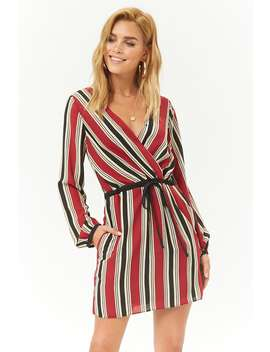Striped Chiffon Surplice Mini Dress by Forever 21