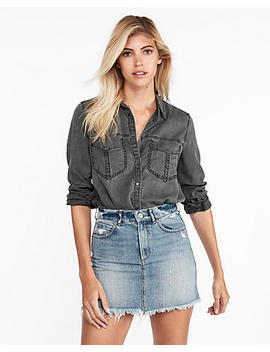 Oversized Pocket Boyfriend Shirt by Express
