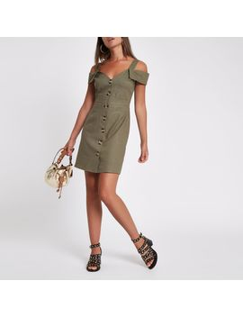Khaki Button Through Bardot Midi Dress by River Island