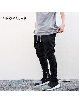 Streetwear Harem Pants Men Draw String Elastic Waist Hip Hop Pants Leg Opening Zipper Male Trousers Kanye Justin Bieber Pants by F I N O V R L A N