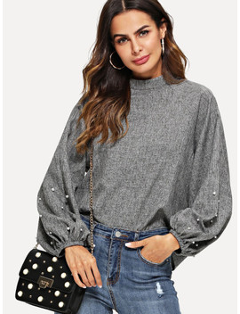 Mock Neck Pearl Beading Lantern Sleeve Top by Shein