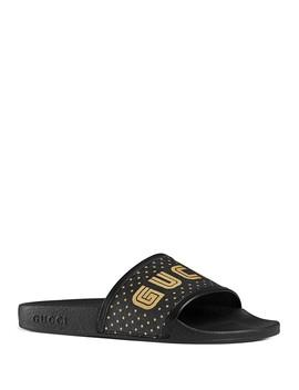 Women's Pursuit Star Print Pool Slide Sandals by Gucci