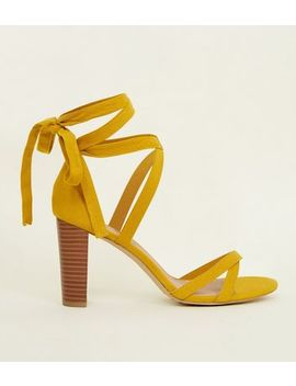 Wide Fit Yellow Suedette Ankle Tie Wood Block Heels by New Look