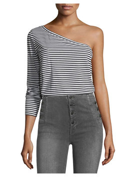 One Shoulder Long Sleeve Striped T Shirt by Robert Rodriguez