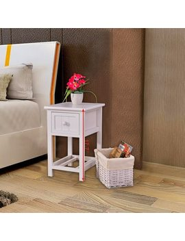 Costway Set Of 2 Night Stand 2 Layer 1 Drawer Bedside End Table Organizer Wood W/Basket by Generic