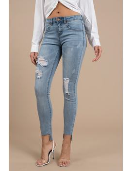 Coldwater Light Wash Mid Rise Skinny Cropped Jean by Tobi
