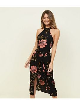 Ax Paris Black Floral High Neck Layered Bodycon Dress by New Look