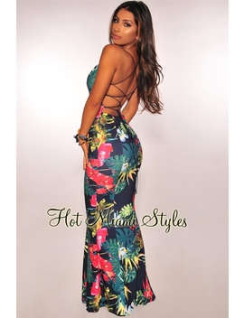 Navy Tropical Print Lace Up Back Padded Mermaid Maxi Dress by Hot Miami Style