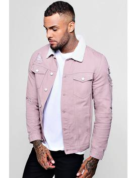 Borg Collar Distressed Denim Jacket by Boohoo