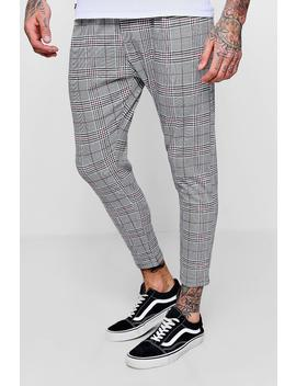 Prince Of Wales Red Check Smart Jogger by Boohoo