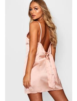 Willow Satin Low Back Detail Shift Dress by Boohoo
