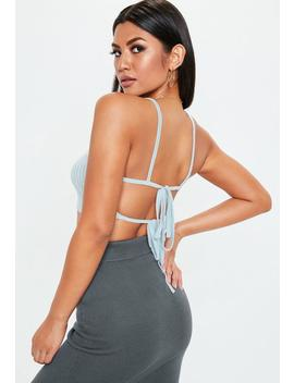 Blue Tie Back Knitted Rib Crop Top by Missguided