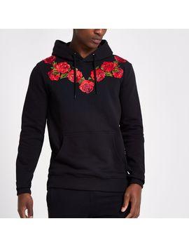 Criminal Damage Black Rose Embroidered Hoodie by River Island