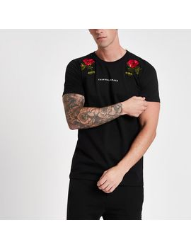 Criminal Damage Black Rose T Shirt by River Island