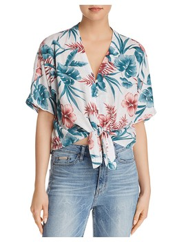 Thea Floral Print Tie Front Shirt   100 Percents Exclusive  by Rails