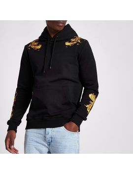 Criminal Damage Black Embroidered Hoodie by River Island