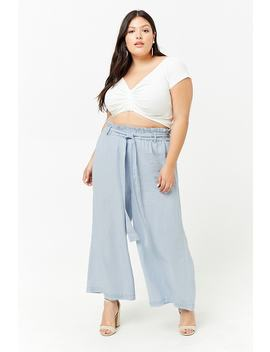 Plus Size Chambray Paperbag Waist Culottes by Forever 21