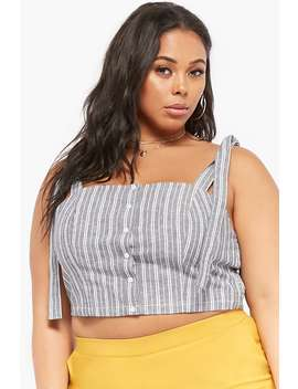 Plus Size Striped Linen Blend Crop Top by Forever 21