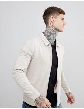 Asos Design Jersey Harrington Jacket In Beige by Asos Design