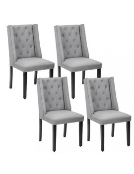 Set Of 4 Grey Elegant Dining Side Chairs Button Tufted Fabric W Nailhead 54 B by Fdw
