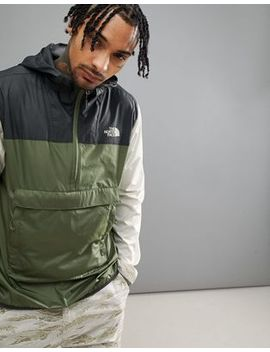 The North Face Fanorak Overhead Jacket Hooded Packable Tricolour In Green/Black/Stone by The North Face