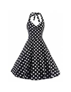 """<P>Polka Dot Halter Pin Up Flare Sleeveless Dress</P><I Class=""""Icon Down Js Tap Up Down""""></I> by Dress Lily"""