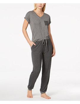 Contrast Pocket Pajama Set, Created For Macy's by Alfani