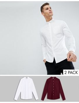 Asos Design Slim Oxford Multipack In White And Burgundy Save by Asos Design