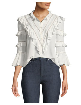 Long Sleeve Button Front Silk Lace Top by Neiman Marcus