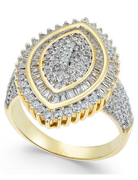 Cubic Zirconia Marquise Cluster Ring In 14k Gold Plated Sterling Silver by Macy's