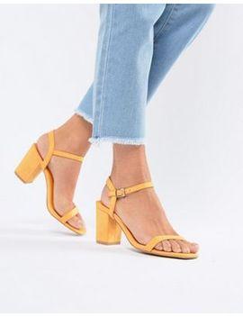 Glamorous Peach Block Heel Sandals by Glamorous
