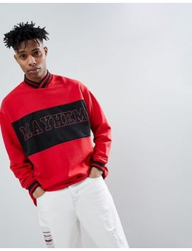 Asos Design Oversized V Neck Sweatshirt With Text Print In Red by Asos Design