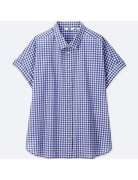 Women Soft Cotton Check Short Sleeve Shirt by Uniqlo