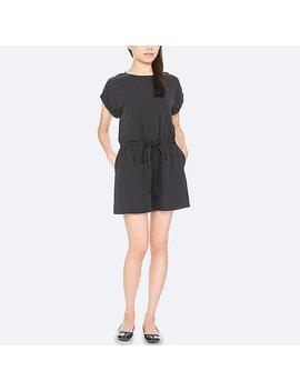 Women Drape Short Sleeve Rompers by Uniqlo